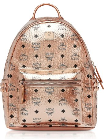 MCM Small Champagne Gold Visetos Stark Side Studs Backpack