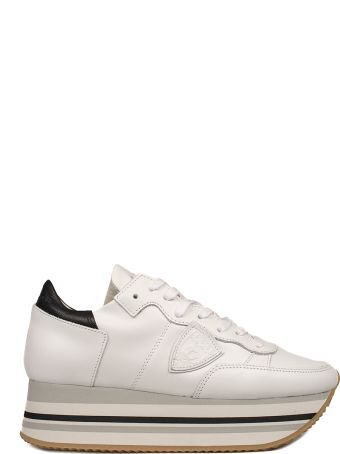 Philippe Model White Eiffel Leather Wedge Sneakers