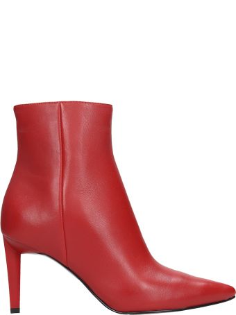 Kendall + Kylie Red Leather Ankle Boots