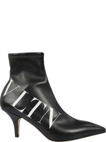 Valentino Logo Print Ankle Boots