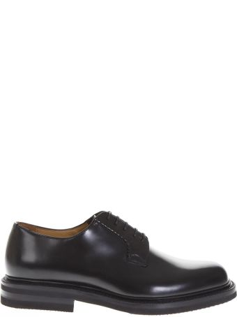 Green George Black Smooth Leather Lace-up Shoes