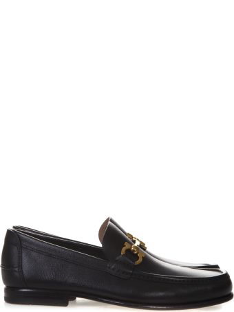 Salvatore Ferragamo Black Gancio Loafers In Leather