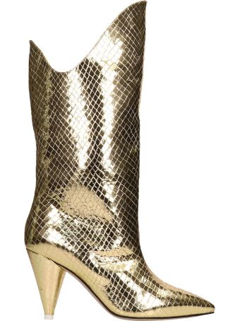 ATTICO Betta Gold Python Print Boots