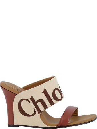 Chloé Chloe' Mild Beige Fabric/leather Sandals