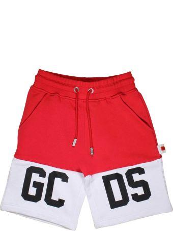 GCDS Mini Red And White Bermuda Gcds