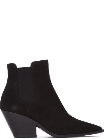 Casadei Black Ankle Boot In Suede