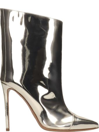 Alexandre Vauthier Ankle Boots In Platinum Leather