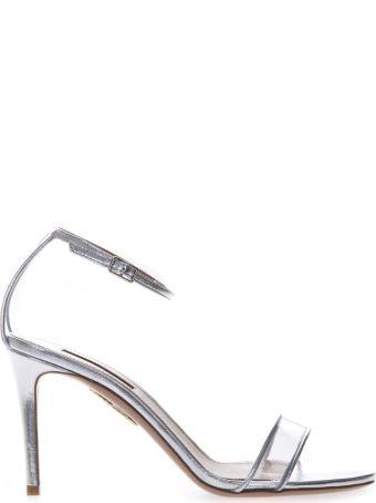 Aquazzura Silver Leather & Pvc Sandals