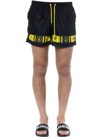 Frankie Morello Swim Shorts In Black And Yellow Technical Fabric