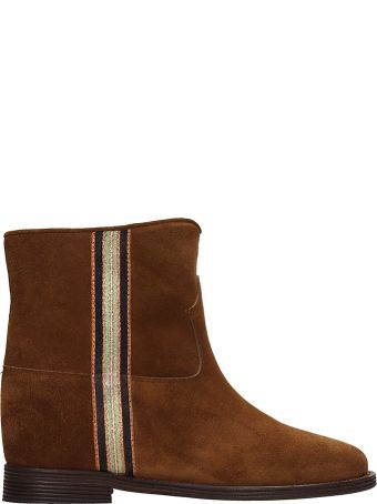 Via Roma 15 Brown Suede Leather Ankle Boots