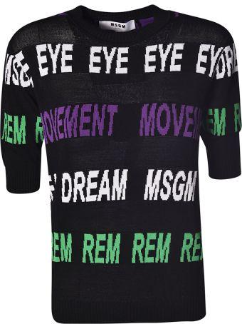 MSGM Eye Movement Logo Print Top