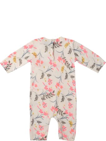 Bonpoint Cotton Ivory Jumpsuit With Flower Fantasy