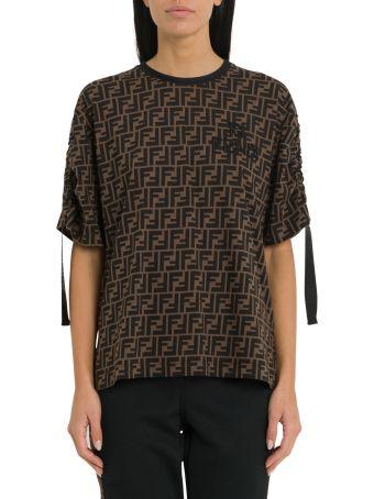 Fendi Brown Cotton Jersey T-shirt