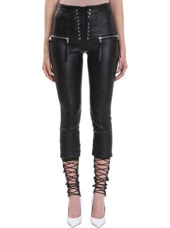 Ben Taverniti Unravel Project Plonge Skinny Lace Up Black Leather Pants
