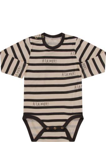 Mini Rodini Ivory And Grey Body For Babykid With Grey Writing