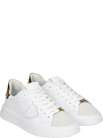 Philippe Model Temple L Sneakers In White Suede And Leather