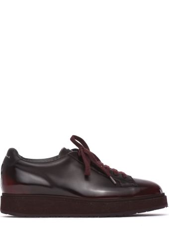 Santoni Lace-up Shoes In Smooth Pale Burgundy Leather