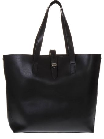 Hogan Black Shopping Bag In Leather