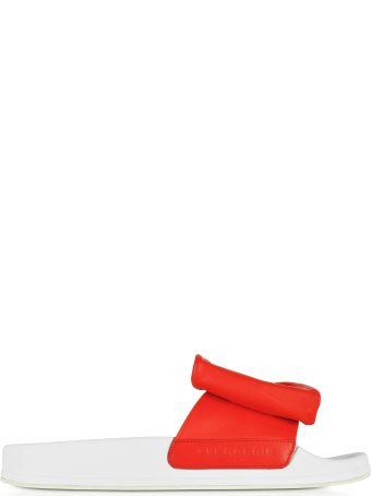 Robert Clergerie Wendy Blood Orange Leather Slide Sandals W/white Sole
