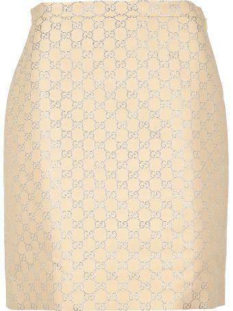 Gucci Light Gg Lamé Mini Skirt
