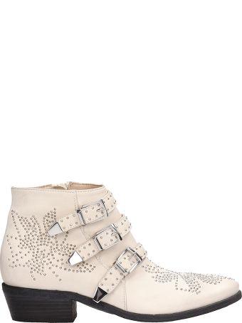 Elena Iachi White Leather Ankle Boots