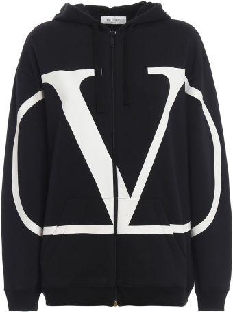 Valentino Logo Print Zipped Hoodie