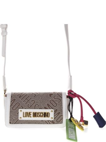 Love Moschino Beige And White Shoulder Bag With Jacquard Logo