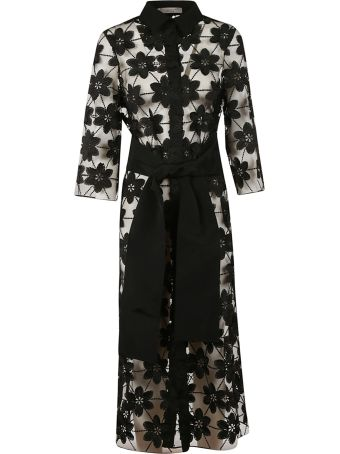 D.Exterior Floral Embroidered Sheer Coat
