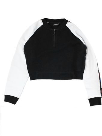 Marcelo Burlon White And Black Cropped Sweatshirt