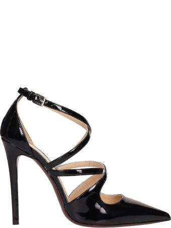 Dei Mille Black Pointed Patent Leather Sandals
