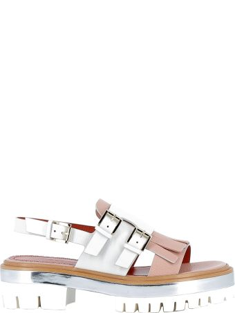 Santoni Pink/white Leather Sandals