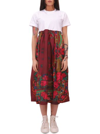 Comme Des Garçons Girl White And Burgundy Dress