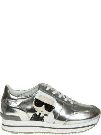 Karl Lagerfeld Sneakers In Laminated Leather Color Silver