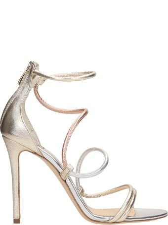 The Seller Platinum And Copper Calf Leather Sandals