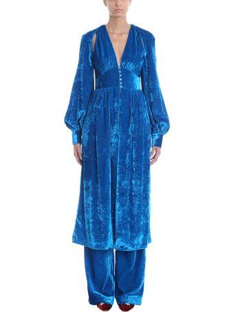 ATTICO Blue Velvet Wrap Dress