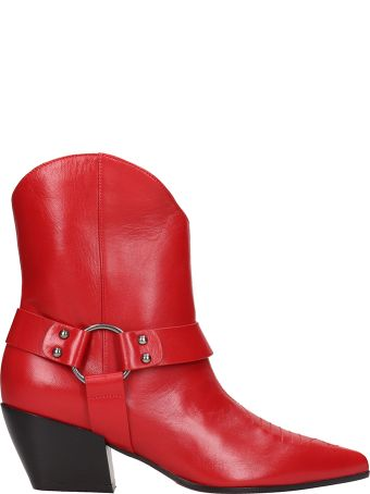Dei Mille Red Leather Texano Ankle Boot