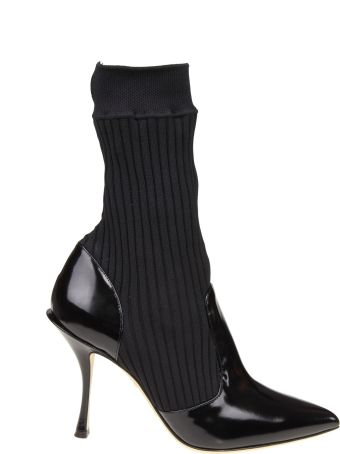Dolce & Gabbana Lori Knitted Boots And Color Paint Black