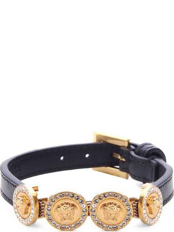 Versace Medusa Crystal-embellished Leather Bracelet
