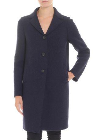Harris Wharf London Blue Virgin Wool Coat