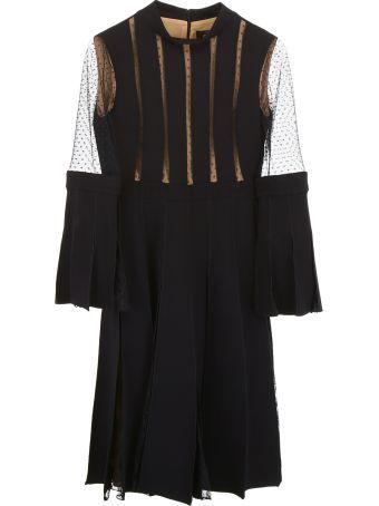 Capucci Plissé Dress With Lace