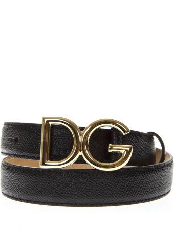 Dolce & Gabbana Black Leather Belt With Golden Logo