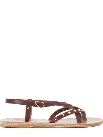 Ancient Greek Sandals Semele Brwon Leather Sandal With Studs