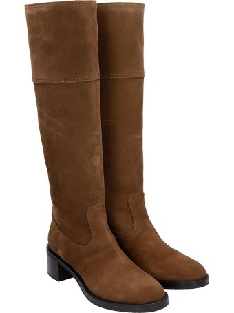 L'Autre Chose Low Heels Boots In Brown Suede