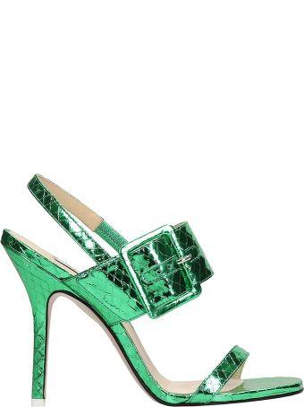 ATTICO Mariah Metal Green Python Sandals