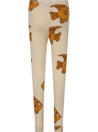 Mini Rodini Ivory Leggings For Kid With Fishes