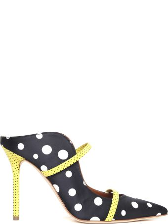 Malone Souliers Mules Maureen 100 In Satin Stampa Pois E Pelle