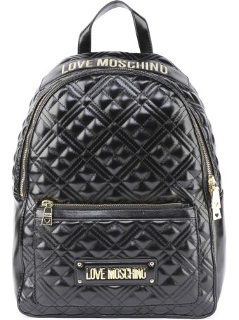 Love Moschino Black Shiny Quilted Faux Leather Backpack