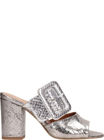 Paris Texas Mule Silver Python Print Sandals