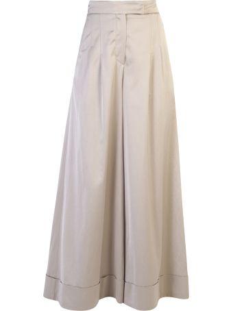 Brunello Cucinelli Wide Leg Cotton Blend Trousers