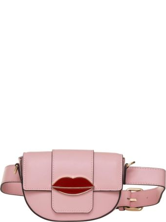 Essentiel Antwerp Pink Belt Bag With Red Lips In Pink